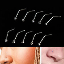 10PCS Fashion Stainless Steel Nose Body Piercing Crystal Stud Screw Ring Rings