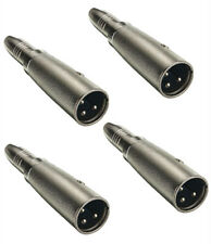 4x Metal XLR Male To 1/4 TRS Jack Female Mic Microphone Cord Cable Adapter Plug