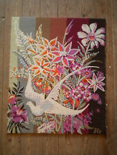 1970s Modern art tapestry Psychedelic pop Art   67 x 55cms Signed Pio