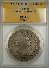 1797 Draped Bust Small Eagle Silver Dollar $1 Coin ANACS EF-40 Details