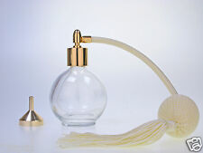 PERFUME ATOMIZER 78ML GLASS BOTTLE, CREAM TASSEL, WITH GOLD FITTING & FUNNEL