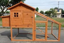 Deluxe Large Wood Chicken Coop Backyard Hen House 4-6 Chickens w nesting box Run