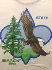 Vintage Boy Scout Beaumont 1990 Staff Eagle Mountain Thin Tree Cub Soft T Shirt