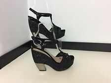 MIU MIU WOMENS BLACK GLITTER SPARKLE GREY SILVER WEDGES SHOES HEELS SIZE 5 VGC