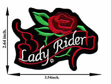 Lady Rider With Red Rose Biker Motorcycle Woman Club Applique Iron on Patch Sew