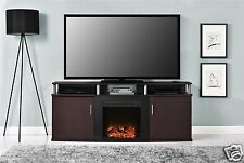 "TV Console Entertainment Stand w/Fireplace, up to 70"", Cherry/Black TV Stand"