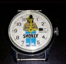 "Vintage ""Smokey The Bear"" Wrist Watch by Bradley Wind Up -AS IS- Parts/Repair"