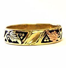 10k yellow gold mens black hills gold leaf wedding band ring estate vintage 4.3g