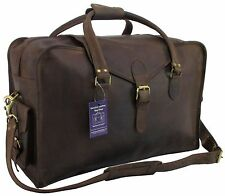 "22""x14x9 Mens Vtg Genuine Buffalo Leather Duffel Carry On Suitcase Weekender Bag"