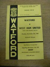 06/11/1967 West Ham United Watford V [Dave Carr beneficio] (arrugada, cambios de equipo)