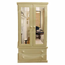 HAND MADE FURNITURE CAMBRIDGE DOUBLE MIRRORED WARDROBE IVORY ( ASSEMBLED)