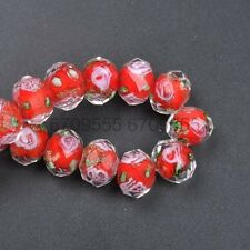 10pcs Red Faceted Rondelle Flower Lampwork Glass Beads  10MM