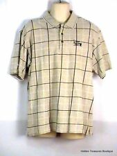 Antigua Men's Golf Polo SS Shirt Gray Checkered Pattern Size Large