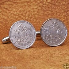 Barbados Coat Of Arms Coin Cufflinks,  10 Cent Silver Tone Caribbean West Indies