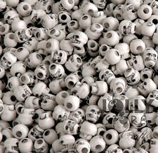 White Skull Pony Beads made in USA, halloween crafts paracord survival jewelry