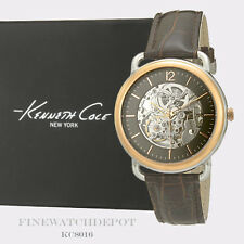 Authentic Kenneth Cole Men's Transparency Automatic Brown Leather Watch KC8016