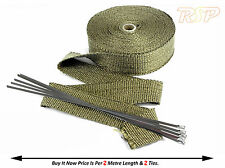 2m Of High Temp Titanium Fibre Exhaust Manifold Downpipe Heat Wrap & 2 Ties S3