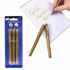 3x Quality Gold Marker Pen -FOR CRAFTS & SCRAPBOOKING- Cardmaking Christmas Card