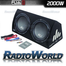 "Fu12 FLI 12"" TWIN Active Subwoofer Sub & amp amplificatore in scatola enclosure 2000w"