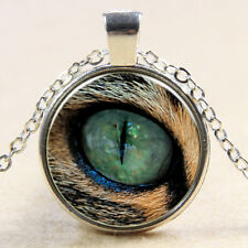 Vintage eyes Cabochon Silver plated Glass Chain Pendant Necklace M#06