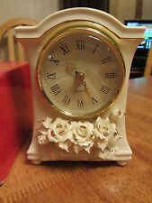 NEW in Box-Winter Rose Mantel Clock-Porcelain with Gold Accents-NIB -Avon-6""