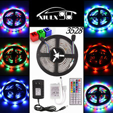 5M 3528 SMD RGB 300 LED Strip Light Tape + 44Key IR Remote + 12V 2A Supply Power
