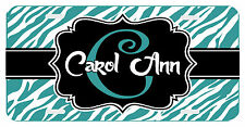 Personalized Monogrammed License Plate Auto Car Tag Zebra Initial Name Teal