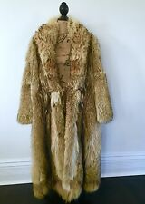 Mens Womans Unisex Vintage Feathered Raccoon Tanuki Long Fur Coat L GORGEOUS
