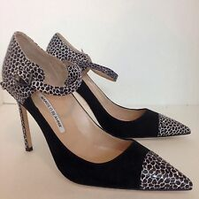 Manolo Blahnik Shoe Black Suede Print Toe And Heel New Size 40