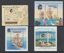 Bahamas Sc 644/753 MNH. 1988-1992 Discovery of America Souvenir Sheets, 4 diff