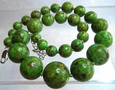 AIL STERLING SILVER  HEAVY GREEN MOSAIC TURQUOISE GRADUATED NECKLACE UNWORN