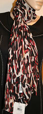 CALVIN KLEIN Red Black Multi Animal Print Lightweight Polyester Scarf 72X27 NEW