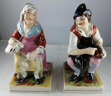 Lovely Pair Of Antique Old Staffordshire Ware Figures - Peasant Man & Woman