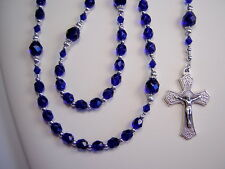 "Rosary Womens Police Cobalt Blue Czech Glass 19"" Las Mujeres Policia Rosario"