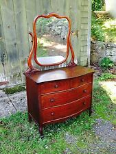 Elegant Antique Quarter Sawn Oak Dresser with Mirror (Beautiful Grain/Carvings)