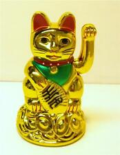 "4""H Chinese Oriental Lucky Good Luck Gold Golden Maneki Neko Waving Paw Hand Cat"