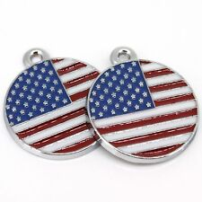 3X American Flag Enamel Round Style Charms Alloy Pendant Bead Jewelry Finding