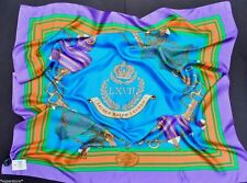 RALPH LAUREN POLO WOMEN 100% SILK LARGE SCARF EQUESTRIAN CROWN SHAWL WRAP SUMMER