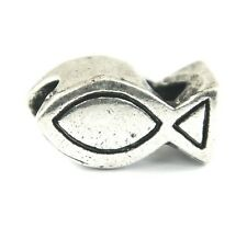 Silver Christian Fish Symbol Charms Bead For Charm Bracelets