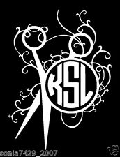 SCISSORS INITIALS Hair Stylist Hairdresser Salon Decal Sticker Car Window WHITE
