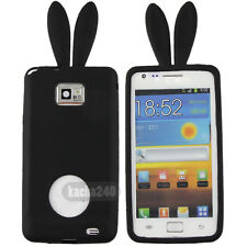 Black Rubber Rabbit soft Silicone Case Cover For Samsung Galaxy S2 S II I9100