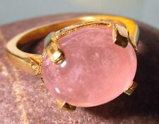 Gold plated brass everyday rose quartz stone ring UK L-L¼/US 6