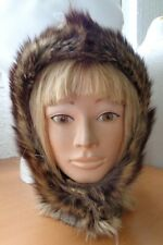 MINT NATURAL RACCOON RACOON FUR HOOD HAT CAP WOMEN WOMAN SIZE ALL