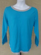 NEW Just  My Size L/S scoop neck Twofer Tee Top Turquoise/ Gray 4X