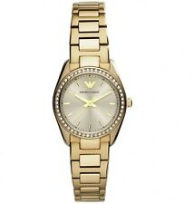 NEW EMPORIO ARMANI GOLD TONE STAINLESS STEEL LADIES WATCH AR6031