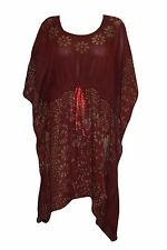 BOHEMIAN LADIES KAFTAN BATIK PRINT MAROON HIPPIE WOMEN COVER UP BEACH CAFTAN XL