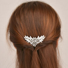 Elegant Women Enamel Crystal Flower Hair Clip Comb Barrette Hairpin Accessories