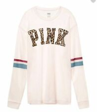 Victorias Secret PINK Long Sleeve Campus Tee Shirt Cheetah Ivory NWT S Small
