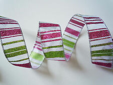 "5YDS 1.5"" GLITTER PINK LIME GREEN STRIPES WHITE SHEER Wired Ribbon CHRISTMAS BOW"