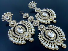 WHITE PEARL GOLD TONE INDIAN TRADITIONAL EARRINGS TIKKA SET PARTY WEAR JEWELRY